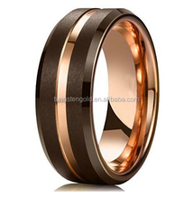 Latest Designs Brown Brushed Tungsten Carbide Wedding Band Ring Thin Rose Gold Groove Beveled Edge