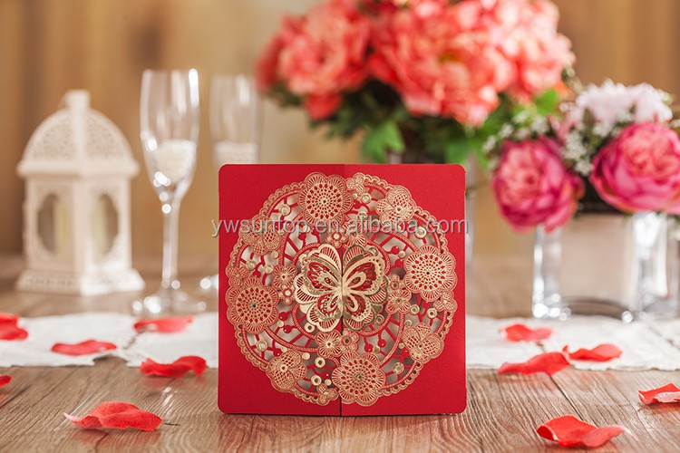 Novel Just Arrival 6020 Chinese Red Butterfly Wedding Invitation Cards