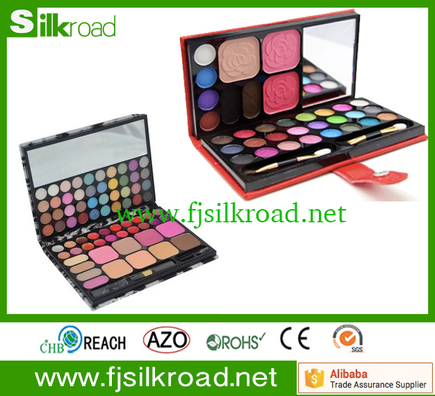 pu leather EyeShadow Cosmetic Palette tray with Make up tool set
