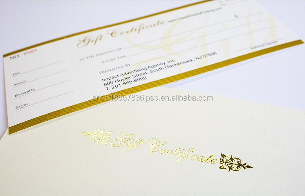 factory direct sell cheap price 200g coated paper customized Custom Pre Printed Gift Certificates