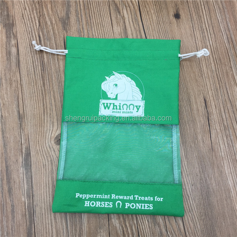 Fancy Cotton Packing Pouch With Organza Visible Window For Gift/Craft/Make up