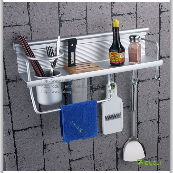 Wall mounted aluminum kitchen accessories Wall Hanging Kitchen Shelf with Hooks