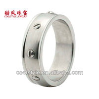 Dome band titanium ring with stainless steel nail inlay, latest style titanium brushed ring