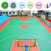 Silicon PU sports court flooring for basketball,tennis,volleyball,badminton