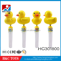 Plastic yellow duck candy tube candy toy for kids HC301800