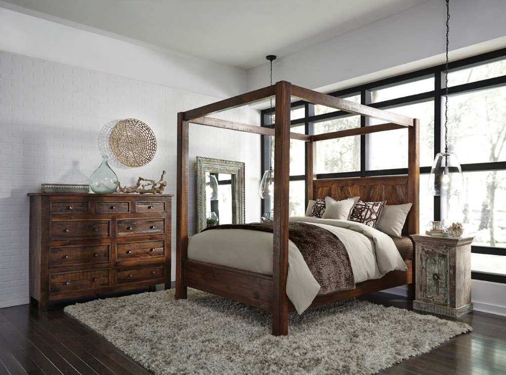 House Bed Furniture Wood Style King Size Canopy Bed