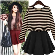 WAT1098 Fall 2015 fashion European style striped dress bottoming skirt for women
