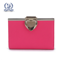 Rose color women leather wallet purse with metal frame
