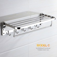 Stainless steel folding towel rack