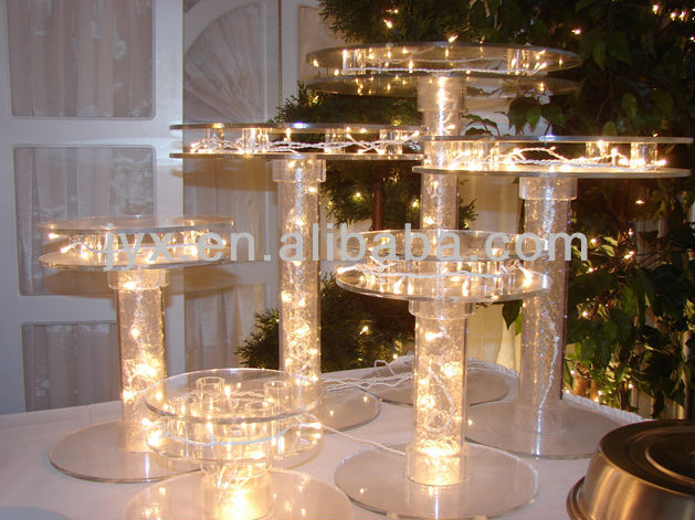 eco-friendly lighted acrylic cake pop stand for wedding/party