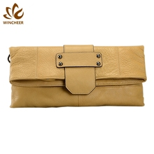 Best sellers light yellow simple braided wrist strap new model synthetic lady leather wallet