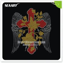 Hot Fix Rhinestone Cross Iron On Transfer T-Shirt Use