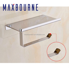 High quality Wall Mounted Stainless Steel Bathroom Toilet Paper Towel Holder with Phone Storage Shelf