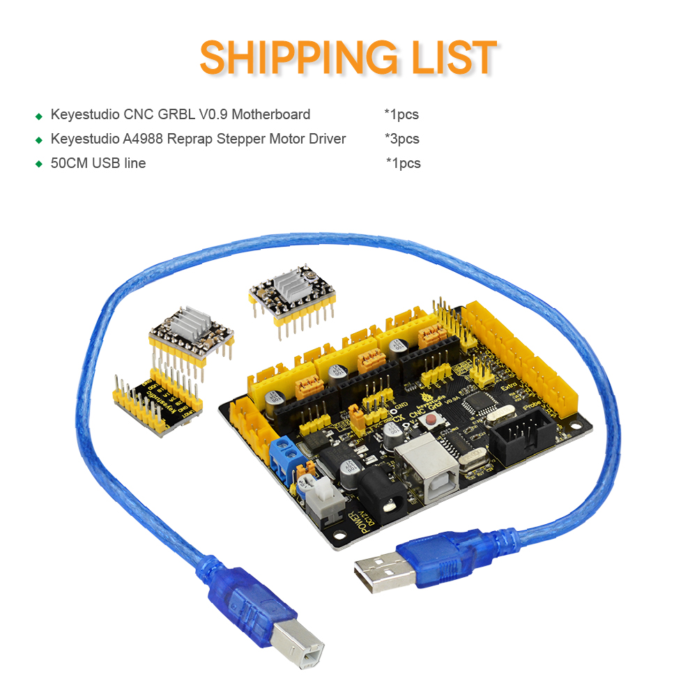 Keyestudio CNC V0.9A board+ 3pcs 4988 Driver W/ Heat Sink + USB cable for arduinos CNC