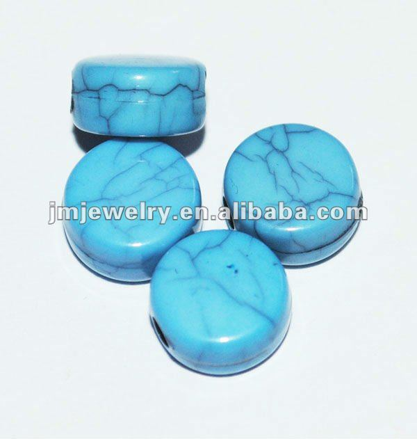 flat round blue color acrylic bead to make bracelet jewelry,diy crack plastic beads for jewelry connectors in bulk