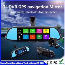 7.0 inch Dual Lens Car dash cam Camera DVR Video recorder Rearview Mirror with gps navigation in promotion