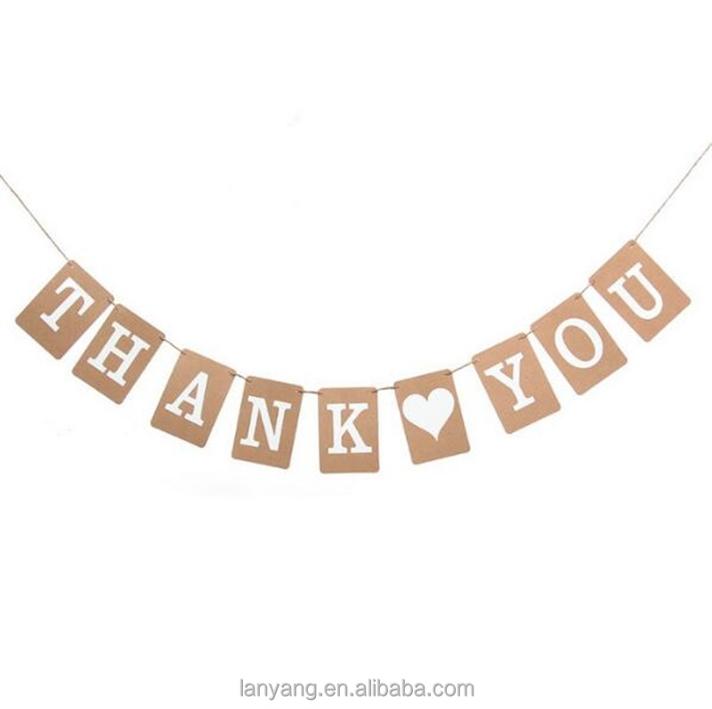 Custom Kraft & White Banners Thank You Just Married Baby Shower Bunting Banner Rectangle Paper Flags