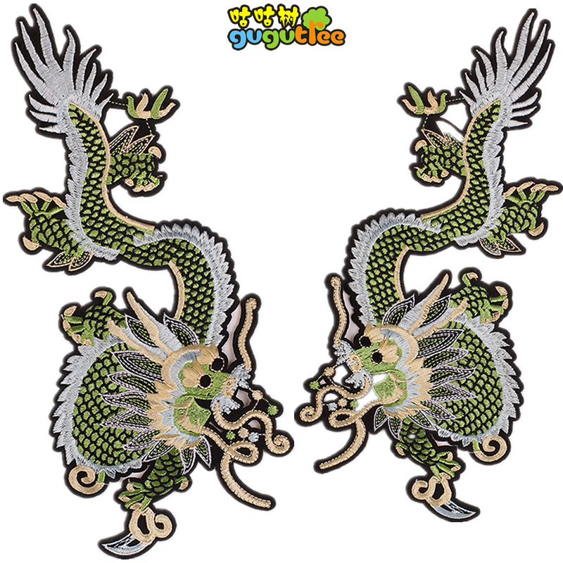 new patches or clothing big animals pair dragons sets embroidered patch glue sew iron on for coats clothes jackets accessories