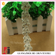 Hot sale bridal rhinestone beaded trim belt for wedding dress