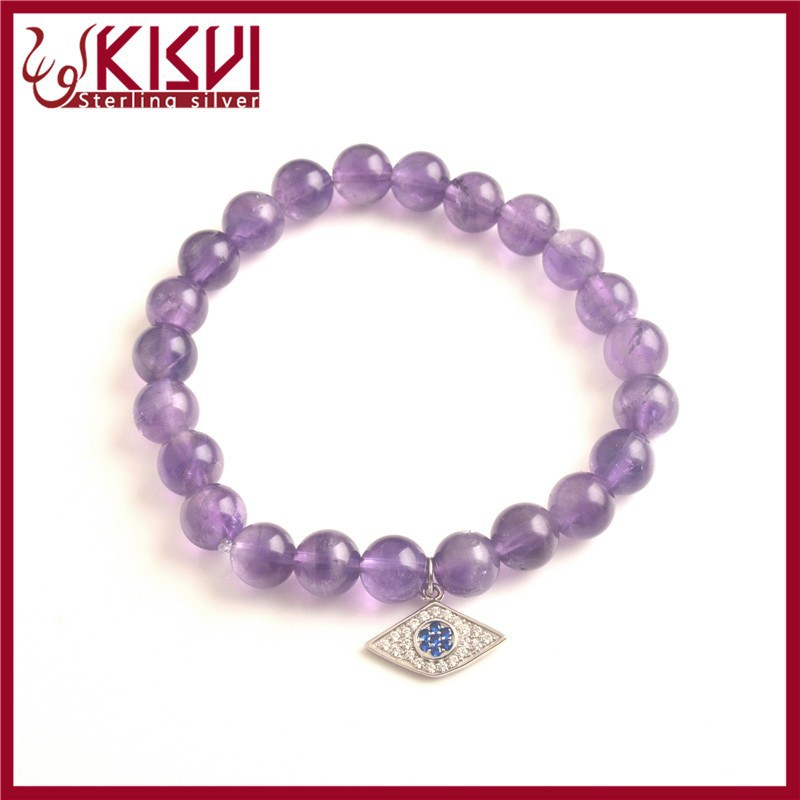 Purple Crystal natural silver eye bracelet Hand-woven rope Stretchable bracelet