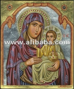 Handpainted orthodox icon of Virgin Jerousalem