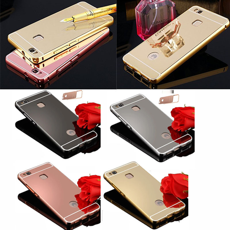 New Arrival Mobile Phone Cover, Shockproof Fashion Mirror Case for Huawei P9 with Aluminum Bumper