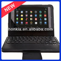 2013 Factory Price Detachable Bluetooth Wireless Keyboard with Leather Case for Google Nexus 2