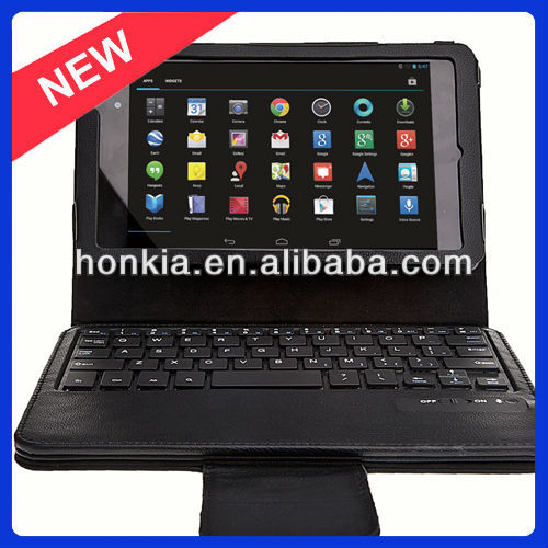 Factory Price Detachable Bluetooth Wireless Keyboard with Leather Case for Google Nexus 2