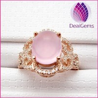 2015 wholesale Rose gold plated 925 sterling silver rose quartz ring with CZ pave setting