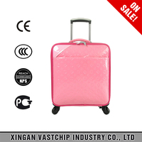 2016 Fashion airport 16 inch girls trolley luggage bag PU trolley bag with laptop compartment
