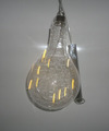 Bulb-shaped glass ornaments with LED light for christmas decorations