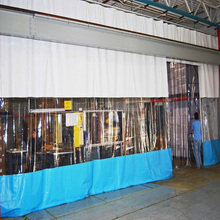 6 ft x 8 ft Solid Blue PVC Vinyl Industrial Curtain Wall w/ Mounting Hardware