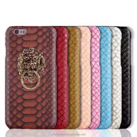 Crocodile PU leather with metallic lion pattern stand holder cellphone mobile phone case for iphone5 5s 6 6s 6plus CO-LTC-1049