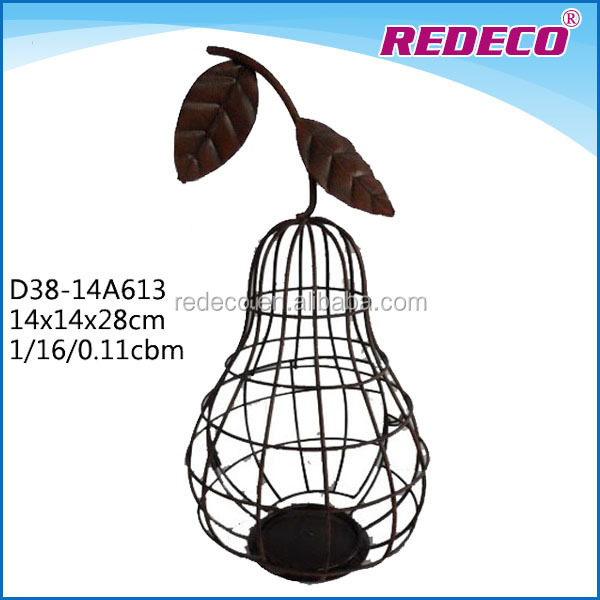 Decorative mini metal garden pear tealight candle holder lantern