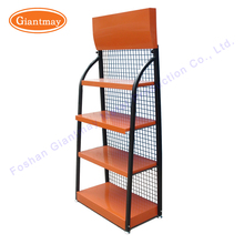 hot sales oil bottle floor metal shelf for lubricant display stand