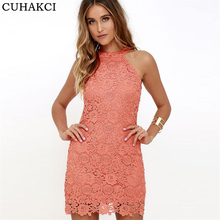 CUHAKCI New Woman Wedding Halter Sleeveless Dresses Party Sexy Night Club Bodycon Mini Dress Lace Embroidered Dresses Plus size