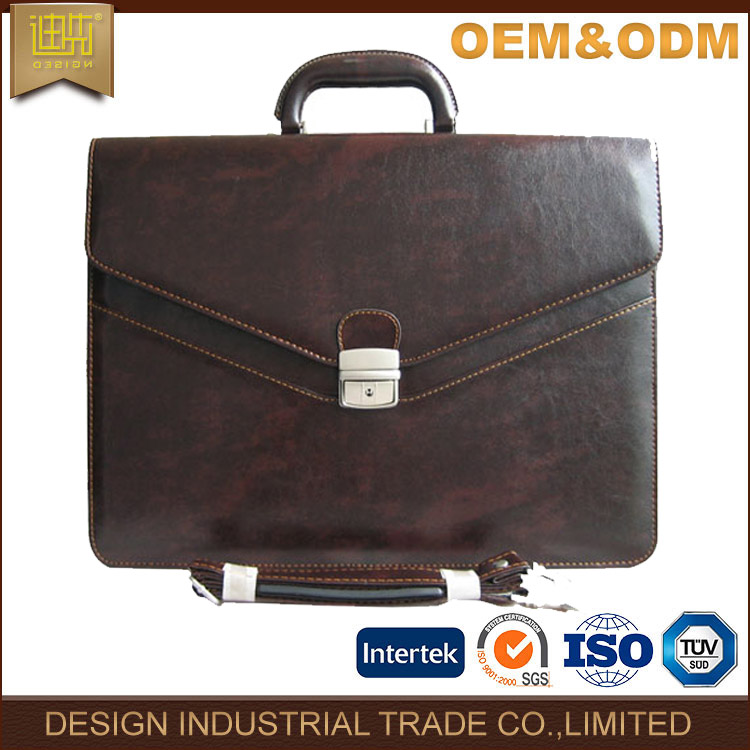Classic style brown pu leather men briefcase bag with good locks and thread