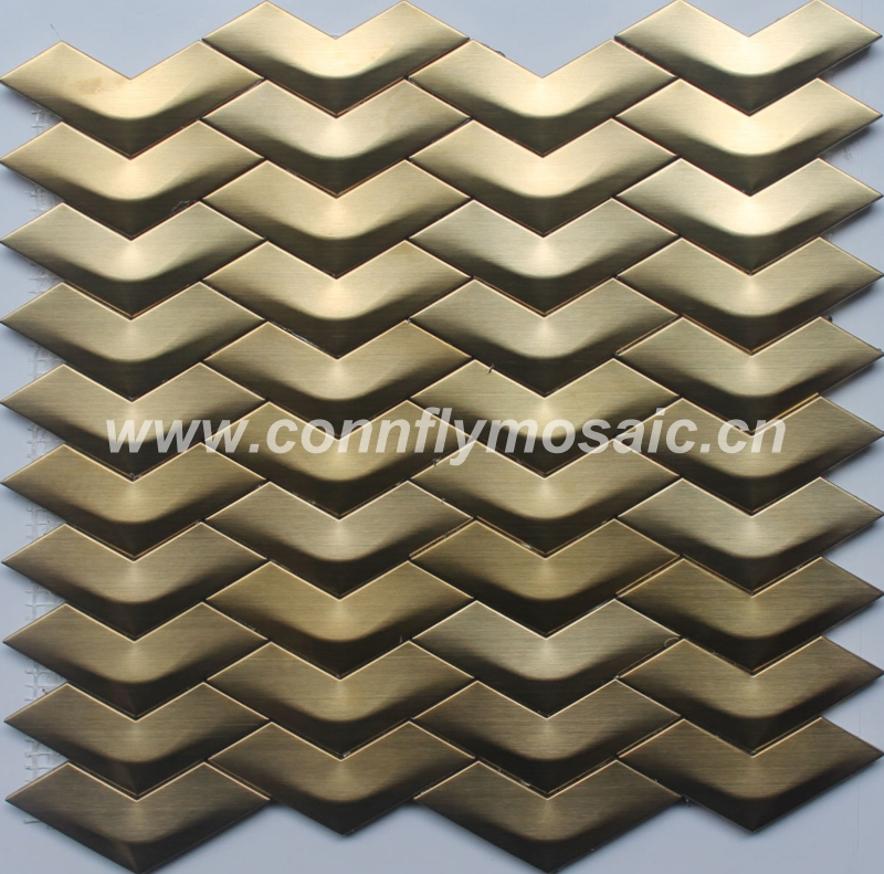 Golden arrows shape design metal stainless steel mosaic tile