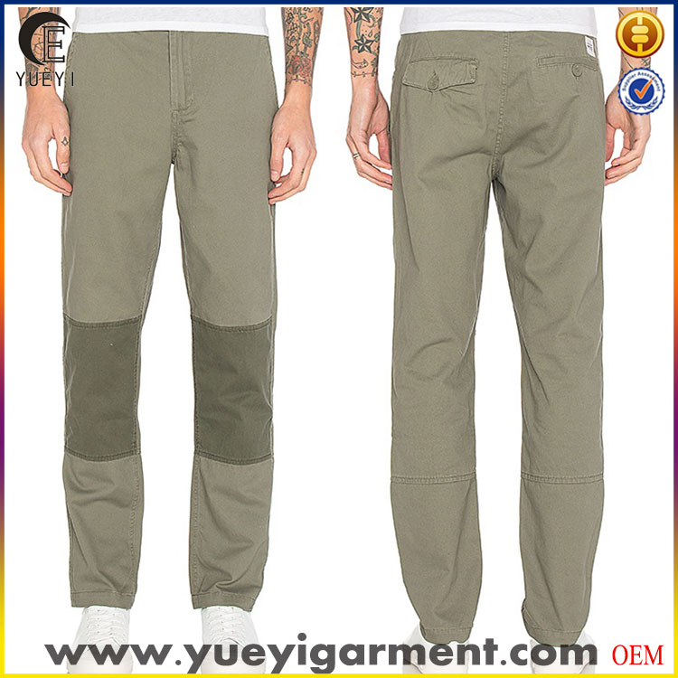 2017 new arrival casual chino pants with knee patch in olive for men