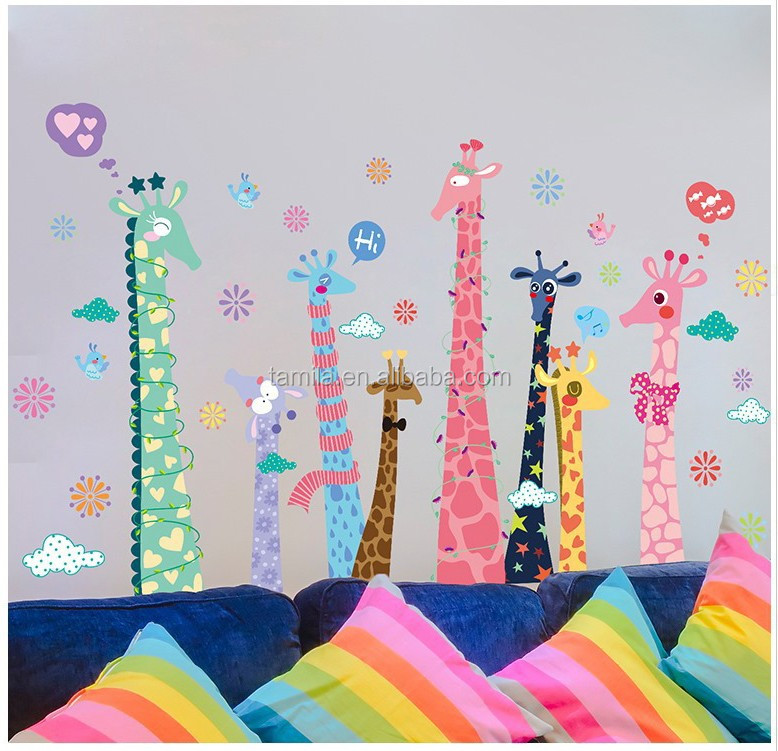 reusable cartoon giraffe PVC height removable waterproof kids room wall decor stickers