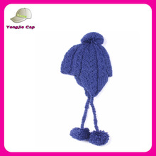 cheap wholesale custom earflaps knitted pom beanie baby hat