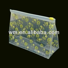 Clear EVA plastic zip lock cosmetic bags with nice printing