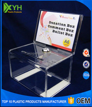 customized acrylic comment suggestion box, clear acrylic donation box with sign holder