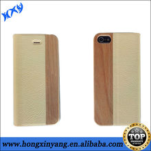 Flip cover PU leather wood pattern case for iphone 5s