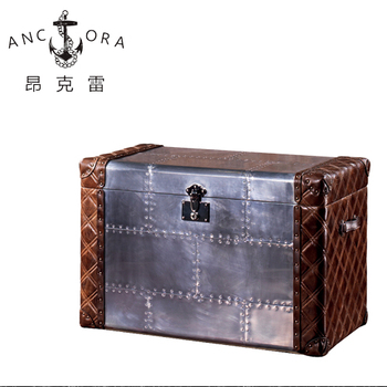 Top quality aluminum covered antique trunk coffee table for sale L817