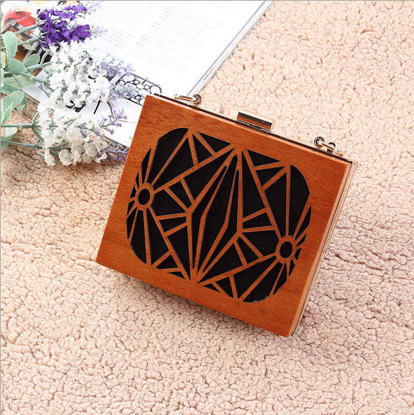Custom wood hollow retro women clutch evening bag
