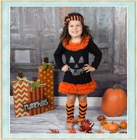 girls halloween pumpkin dresses smocked children clothing wholesale orange and black little girls boutique dresses