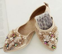 Hot selling ladies soft folding flats shoes women rhinestones flat shoes