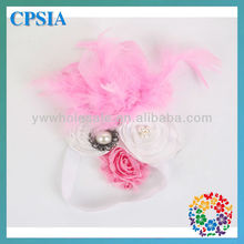 baby pink feather foe headbands newborn wholesale factory butterflyinflower elastic skinny flower headbands