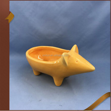 Simple elegant yellow mouse animal shape ceramic flower plant pot